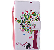 Tree and Cats Lanyard Painted PU Phone Case for Huawei P9/P9lite