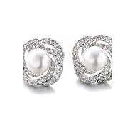 Stud Earrings Pearl Imitation Pearl Zircon Cubic Zirconia Platinum Plated Fashion White Black Jewelry 2pcs