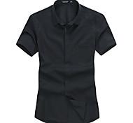 Lesmart Hommes Col de Chemise Manche Courtes Shirt et Chemisier Bleu / Noir / Blanc / Rose - SX13092