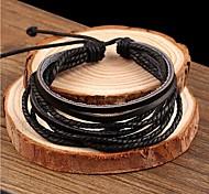 leather Charm Bracelets Lureme®Simple Leather Braided Bracelet Jewelry