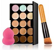 15 colores contorno de la cara crema de maquillaje corrector paleta + soplo esponja brocha para polvos de colorete fundación corrector