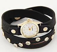 Women's Fashion Watch Bracelet Watch Imitation Diamond Quartz Leather Band Black White Red Brown Pink