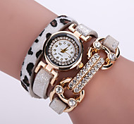 Lady's  Quartz Analog White Case Multilayer Leopard Leather Band Bracelet Wrist Fashion Watch Jewelry Cool Watches Unique Watches