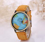 Men/Women Plane Map Case Denim Fabric Band Analog Quartz Wrist Watch Cool Watch Unique Watch