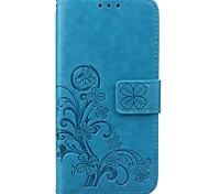 Для Кейс для  Samsung Galaxy Бумажник для карт / Кошелек / со стендом / Флип / Рельефный Кейс для Чехол Кейс для Цветы Искусственная кожа