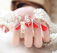 24pcs/set Fake Nails False Nail Finished Manicure Nails Tips Red Pearl