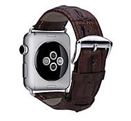 2016 neu die erste Schicht Lederkrokodilkornband w / Silber-Metall-Adapter für Apfel Uhr (verschiedene Farben)