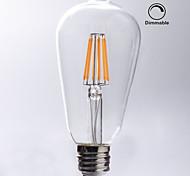 1 pezzo kwb E26/E27 7W / 8W 8 COB 750 lm Bianco caldo ST64 edison Vintage Lampadine LED a incandescenza AC 110-130 V