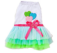 Dog Dress / Clothes/Clothing Green / Pink Summer Hearts