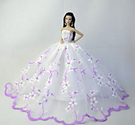 Barbie Doll Light Purple / White Wedding Organza / Lace Costumes Dresses