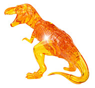 ABS 3D DIY Dinosaur Crystal Puzzle Animal Educational Toys For Kids Or Adults Clear/Yellow