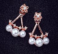 Flower Pearl Rhinestone Stud Earrings