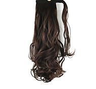 lunghezza marrone riccioli parrucca ponytail 60 centimetri sintetico onda del corpo ad alta temperatura del filo di colore 2/33