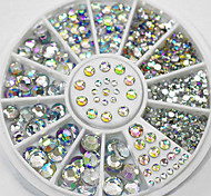 4 Size 300pcs Nail Art Tips Crystal Glitter Rhinestone Decoration Wheel