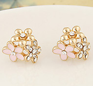 Women's European Style New Fashion Shiny Rhinestone Sweet Little Flower Stud Earrings