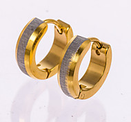 1 Pair Men's  Gold/Silver/Black Stainless Steel with Crystal Hoop Stud Earrings Fine Jewelry