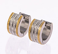 1 Pair Men's  Polished Gold/Silver/Black Stainless Steel with Crystal Hoop Stud Earrings Fine Jewelry