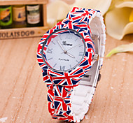 Women's European Style Fashion Printing Flag Imitation Ceramic Wrist Watch
