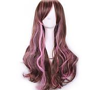 Harajuku челка парик роковой аниме Ombre дешевые парики косплей природных продуктов секса парики коричневый розовый радуга синтетические