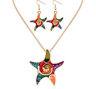 Women European Style Fashion Colorful Rainbow Starfish Necklace Earring Set