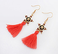 Women European Style Fashion Bohemian Ethnic Star Tassel Drop Earrings