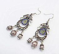 Women European Style Ethnic Retro Fashion Beads Imitation Pearl Drop Earrings