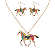 Women European Style Fashion Colorful Rainbow Horse Necklace Earring Set