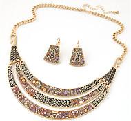 Women European Style Fashion Wild Simple Ethnic Geometric Meniscus Necklace Earring Sets