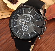 Men's Large Black Case Leather Band Analog Cool Watch Jewelry Gift Cool Watch Unique Watch