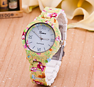 Women's New European Style Fashion Printing Flower Geneva Wrist Watch