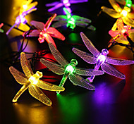 Outdoor Solar Led String Light 5M 20 Led Dragonfly Solar Panel Strip Light Waterproof Garden Square Decoration
