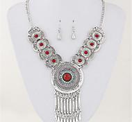 Набор украшений Ожерелье / серьги европейский Кисточки Мода Свисающие Красный Синий Ожерелья Серьги Для Для вечеринок Повседневные1