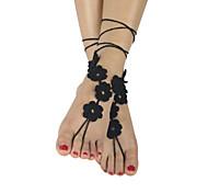 moda fiori delle donne i sandali a piedi nudi a catena della caviglia del piede cotone crochet