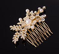 серебро / золото расчески форма листа кристалл жемчужное волос для свадьбы партии леди