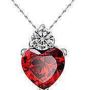 May Polly New fashion heart heart-shaped pendant necklace zircon