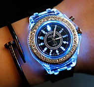 Women/Men's Silicone Band Analog LED Light Case  Wrist Watch Jewelry