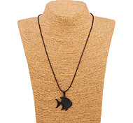 South Korea Alloy Stainless Steel Black Fish Pendant Necklace