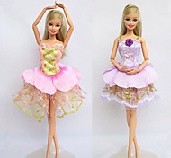 Casual Costumes For Barbie Doll Purple / Pink Dresses For Girl's Doll Toy
