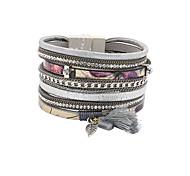 Bracelet Charmes pour Bracelets Bracelets Bracelets en cuir Alliage Cuir Strass Tissu Mode Vintage Bohemia style Style PunkSoirée
