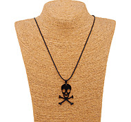 South Korea Alloy Stainless Steel Black Skull Pendant Necklace