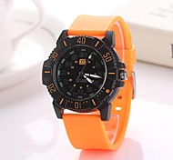 Men's Wrist watch Quartz Casual Watch Silicone Band Black White Blue Silver Orange Brand