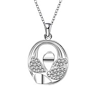 Fashion Style 925 sterling silver Water Drop with Zircon Pendant Necklace for Women