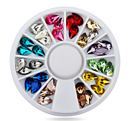 5X8mm Mix 12colors 3d Glitter Charm Nail Gem Stones Wheel,DIY Nail Jewelry Accessories