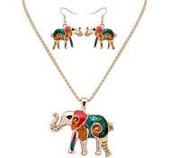 Women European Style Fashion Colorful  Naughty Elephant Necklace Earring Set