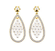 New Fashion Temperament All-Match Diamond Prism Pearl Earrings