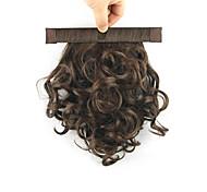 lunghezza marrone parrucca sintetica 28 centimetri bobina ricci filo ad alta temperatura contrarre soffice coda di cavallo di colore 2/30