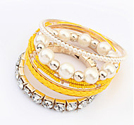Bracelet/Bangles Alloy / Imitation Pearl / Rhinestone Party / Daily / Casual Jewelry Gift Rose / Beige / Black / Yellow / Blue / Pink,1pc