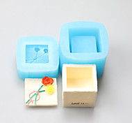 Square Box Fimo Clay Rose Silicone Fondant Cake Jewelry Box Chocolate Silicone Molds,Decoration Tools Bakeware
