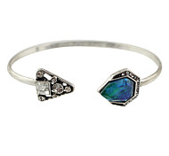 Silver Blue Stone Geometric Triangle Cuff Bracelets