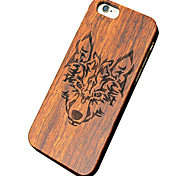 ultra-lobo de madeira fina esculpido duro caso do iphone pc proteção tampa traseira para 6s iphone acrescido / 6s 6 mais / iphone / iphone